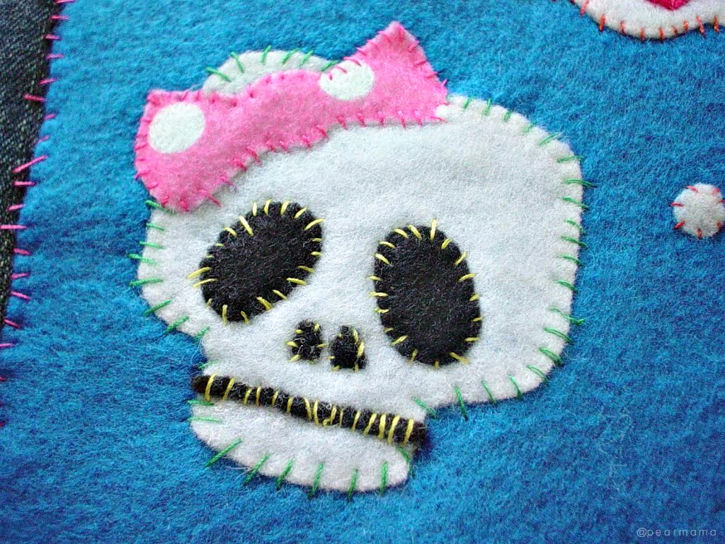 Hook up your kid's denim jacket with this cute little sugar skull made out of felt. All you need are some scissors, needle + thread and some patience.