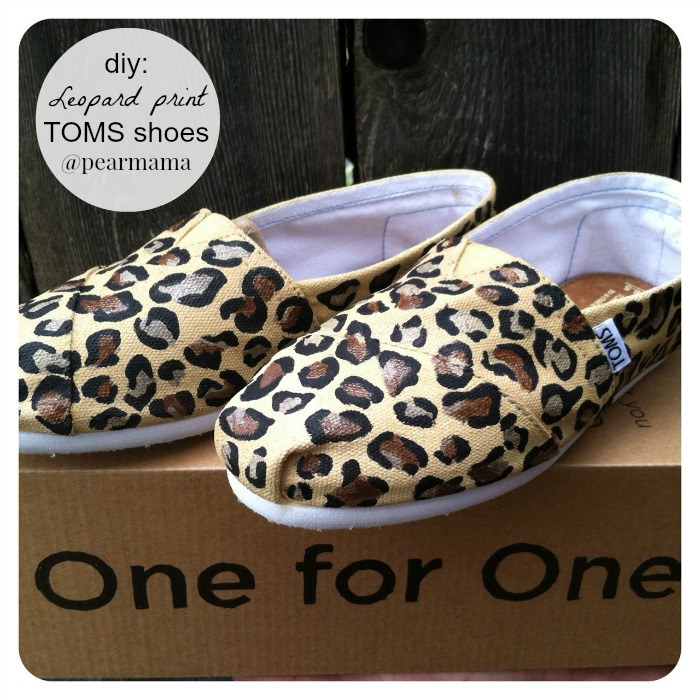 4163ffccea0a DIY a pair of your own TOMS shoes with this cute leopard print using fabric  paint. I've been wanting to do a pair of leopard print TOMS in like, forever .