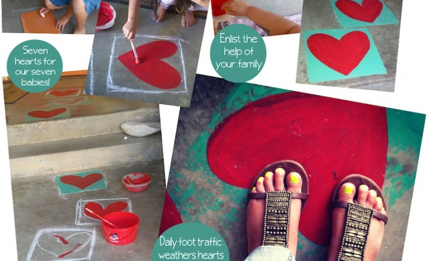 Hearts + Family = Love | Painted Heart Walkway