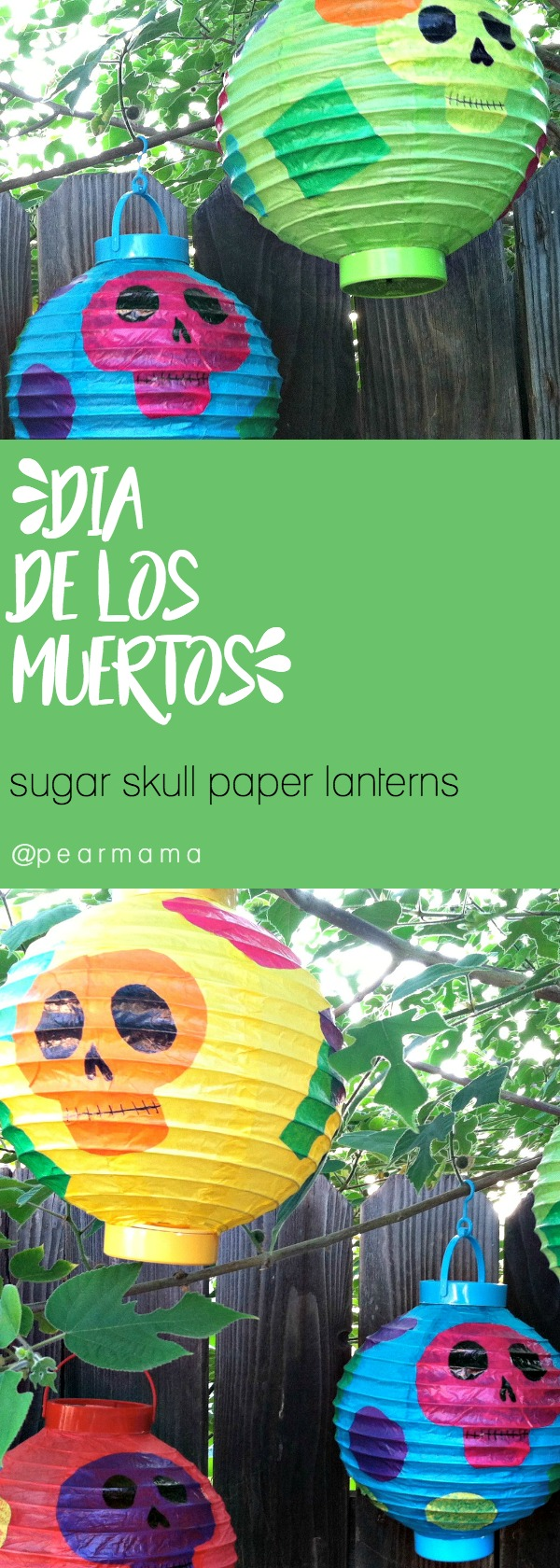 Transform simple paper lanterns with tissue paper and hand-drawn sugar skulls. Hang them around the house to celebrate Day of the Dead with your family.