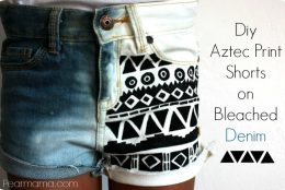 Restyle: DIY Aztec-print shorts on bleached denim