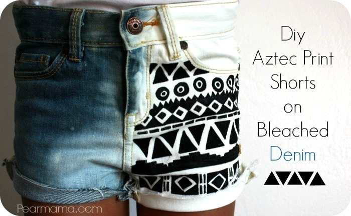 aztec-print-denim-shorts-1