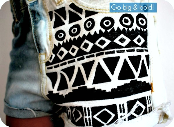 diy-aztec-print-denim-shorts
