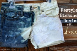 Restyle: Bleached Denim Shorts with Lace