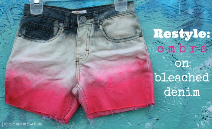 Restyle: Pink Ombre on Bleached Denim Shorts