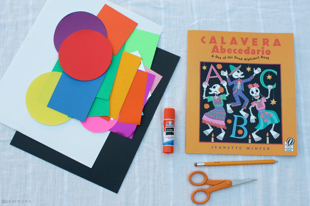 Using your favorite book for inspiration, make this calaca-inspired paper collage with your kids to celebrate the Mexican tradition of Dia de los Muertos.