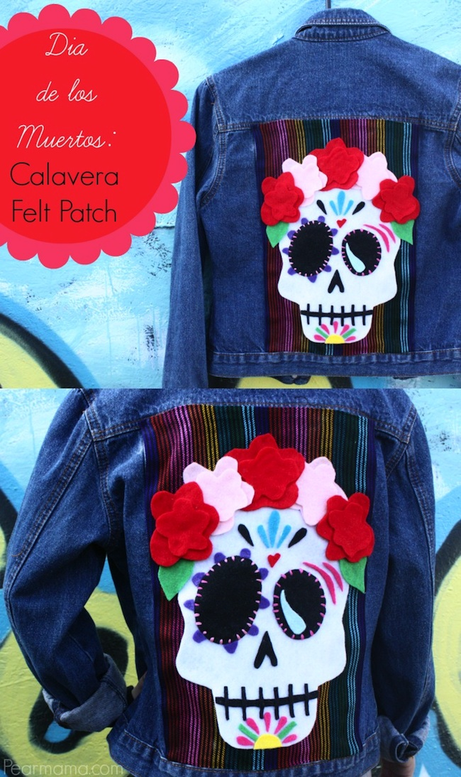 Spruce up your plain denim jacket with this cool sugar skull made out of cut felt shapes to celebrate Dia de los Muertos.