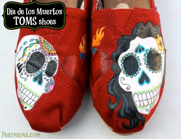 Paint your own Dia de los Muertos-inspired sugar skulls on a pair of your favorite shoes using craft paint and paint markers pens.