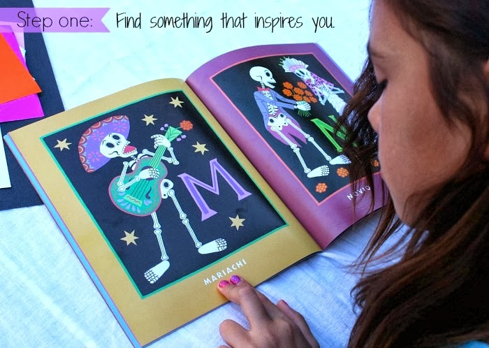 Create a Dia de los Muertos-inspired collage for kids.