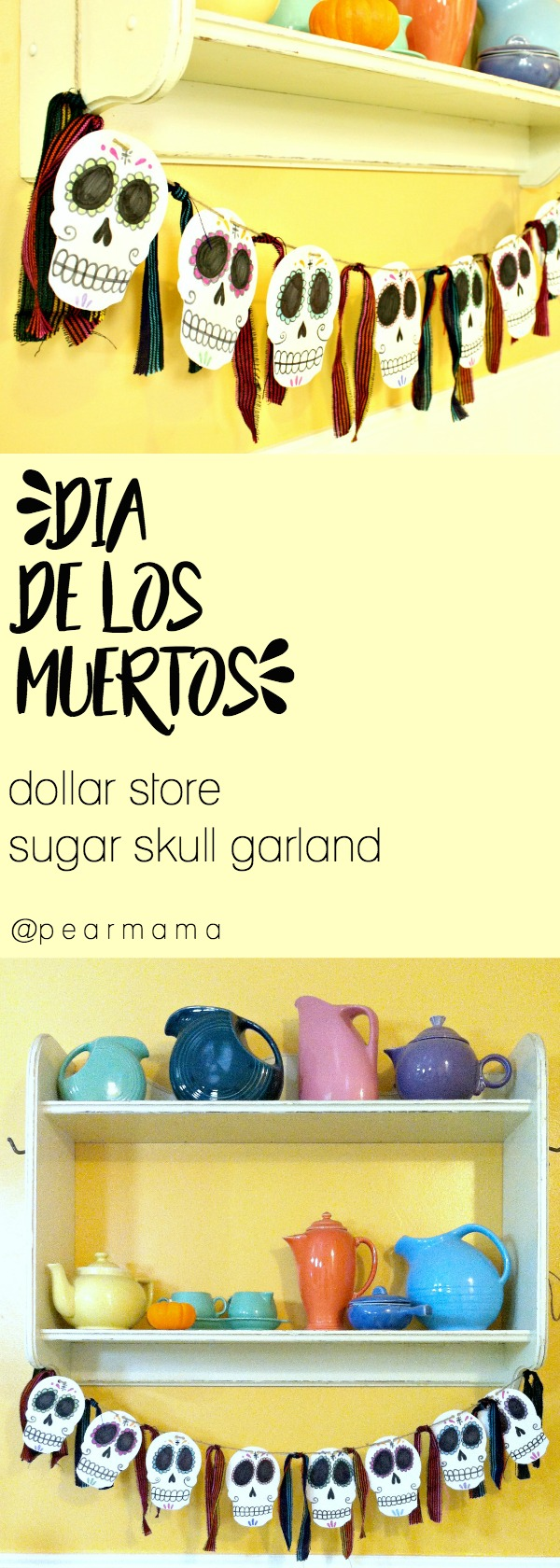 Make this simple Dia de los Muertos-inspired garland made from dollar store foam skulls, jute twine, markers and Mexican fabric.