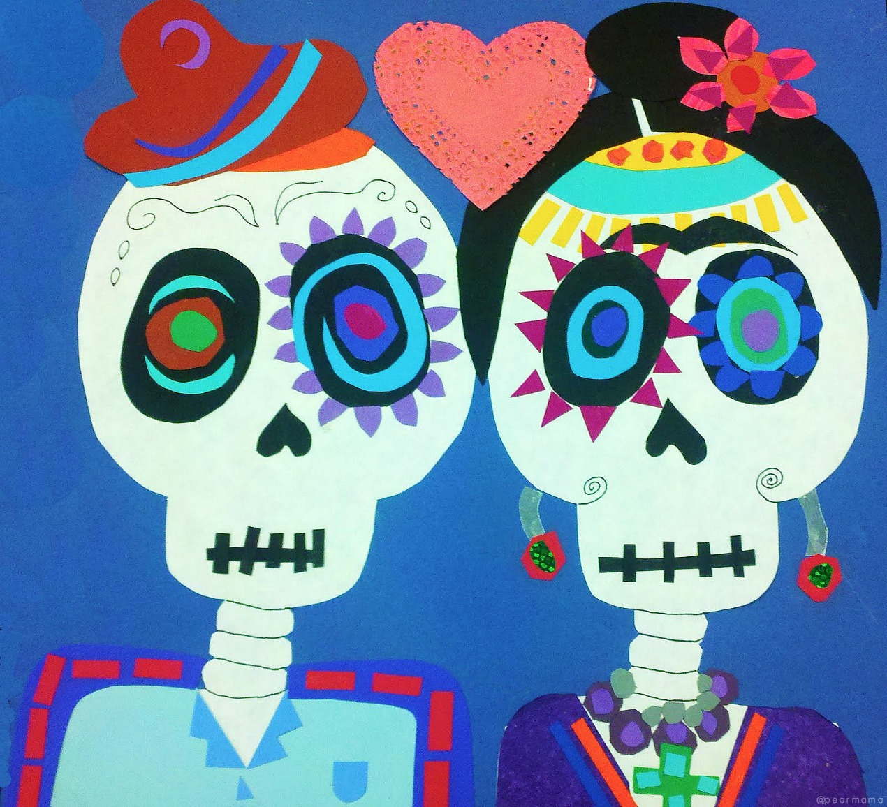 Create your own Frida Kahlo and Diego Rivera paper collage for Dia de los Muertos using colored scrapbook paper, scissors, glue and markers.