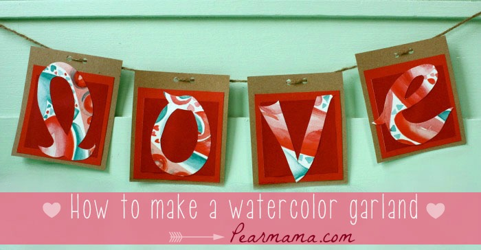 Make your own watercolor art heart garland for Valentine's Day.