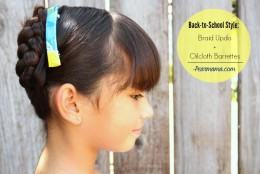 Back-to-school style: Braid Updo + DIY Oilcloth Barrettes