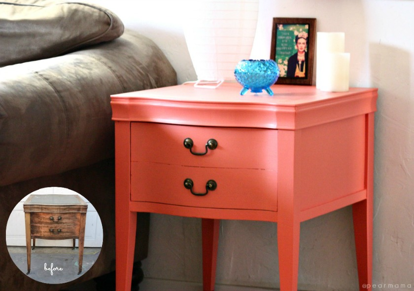 Stunning diy painted side table coral reef sw