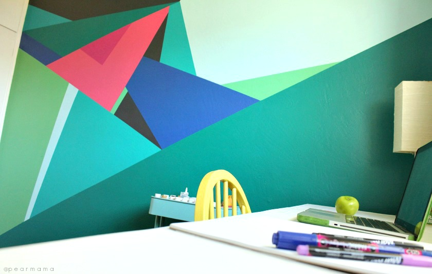 Create your own DIY geometric wall mural.