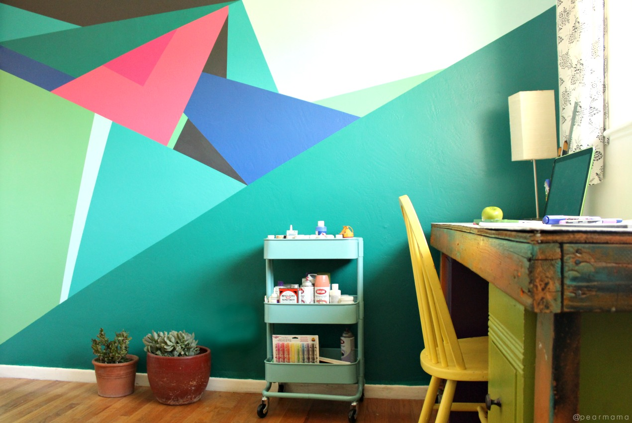 Paint this geometric wall design pearmama for Wall design with paint