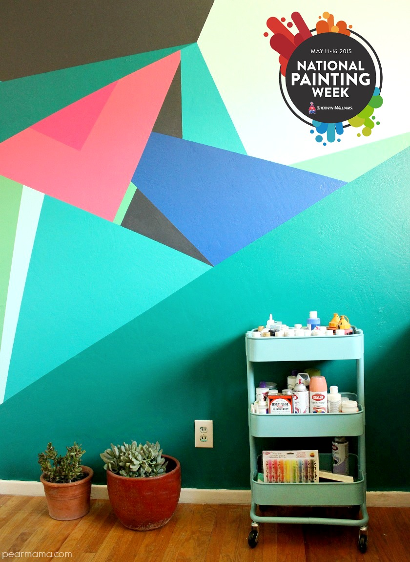 Paint this geometric wall design pearmama for How to design a mural