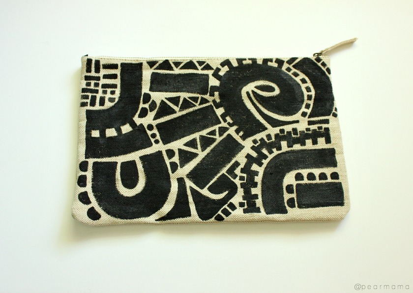 DIY painted clutch bag.