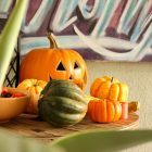Keep your holiday and Halloween decor simple by using the fresh elements of Fall: gourds, squash, pinecones and pumpkins.