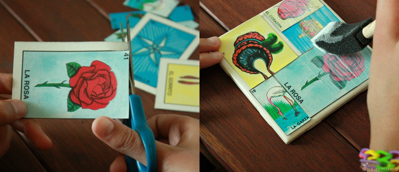 Make your own custom tile coasters using colorful Loteria cards and Mod Podge.